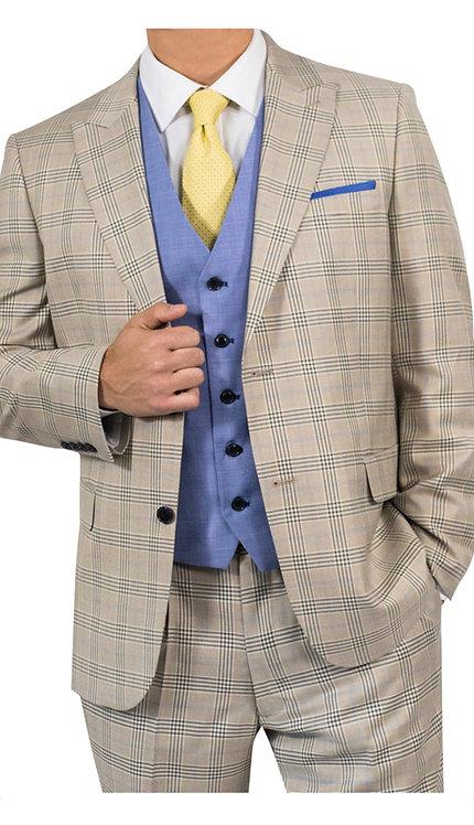 3pc Suit With Blue Vest