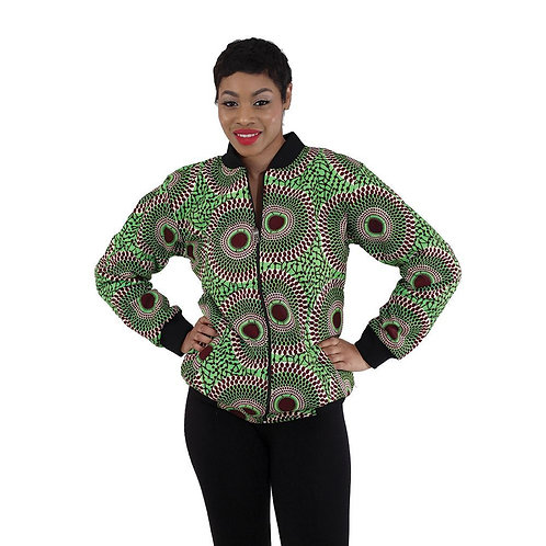 African Print Bomber Jacket: Lime