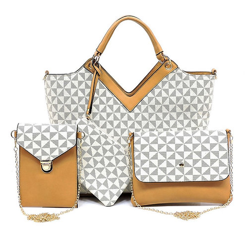 Beige Women's 4 piece Handbag Set