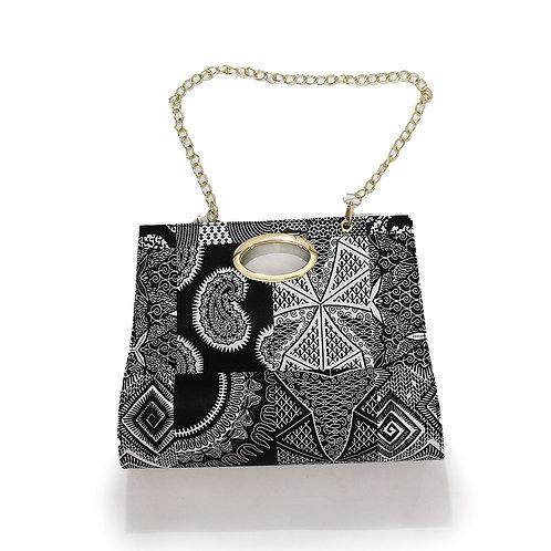 Afrocentric Print Hand Bag Black & White