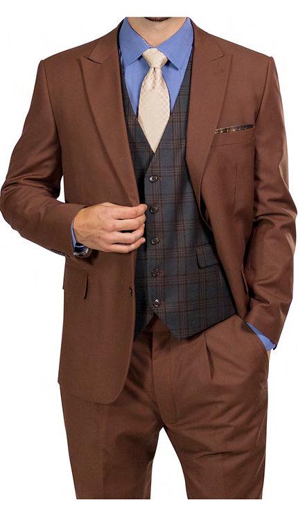 3pc Suit With Green Plaid Vest