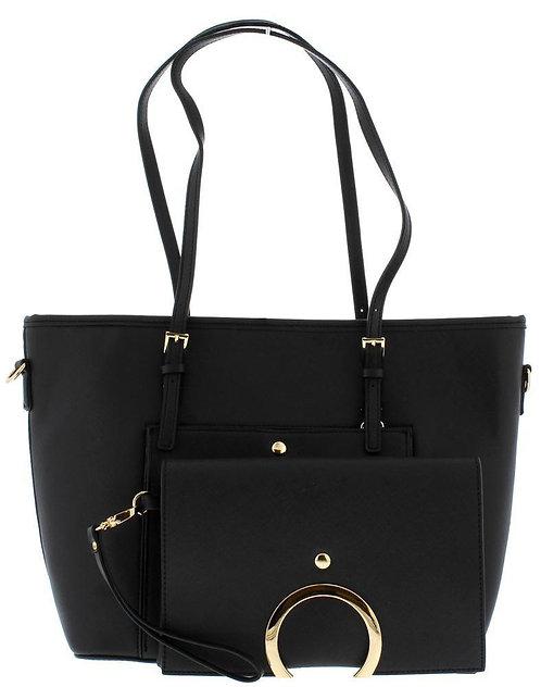 Black Women's Handbag Wristlet Clutch Set