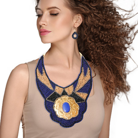 Beaded Bib Necklace And Earring Set Featuring Stamped Metal Plate Design
