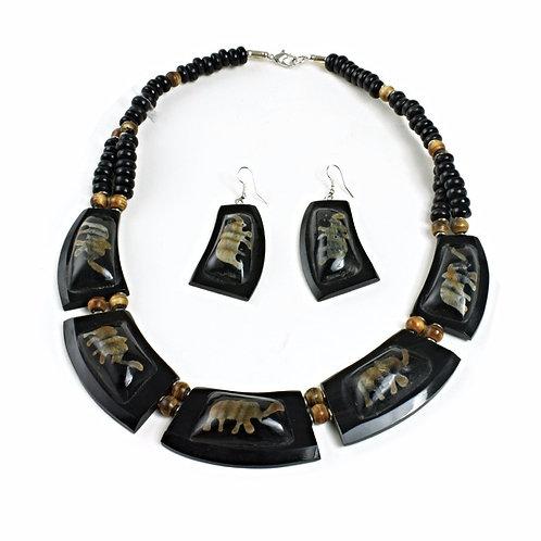 Black Bone Elephant Necklace Set