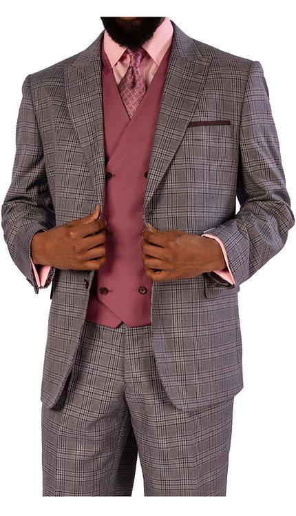 3pc Suit With Solid Color Vest
