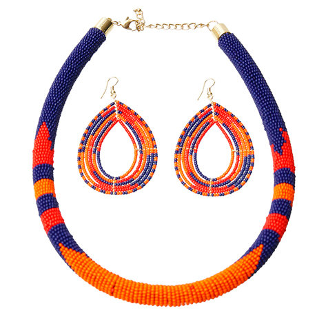 Bead Wrapped Tribal Necklace And Earring Set