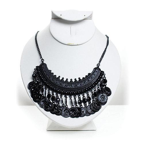Black Vintage Queen Coin Necklace