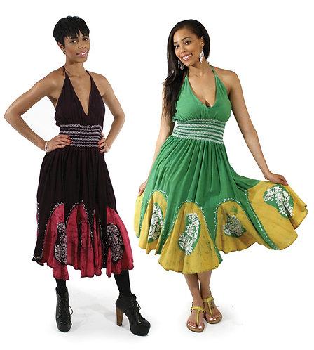 Batik Petal-Bottom Dress: Black