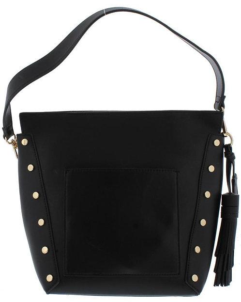 Black Rivet Side Panel Single Strap Bucket Handbag