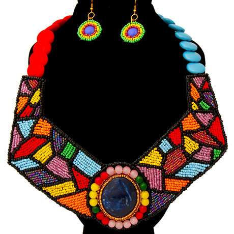 Beaded Collar Bib Necklace And Earring Set
