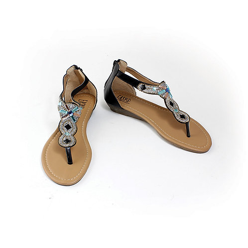 Black Rhinestone Sandal