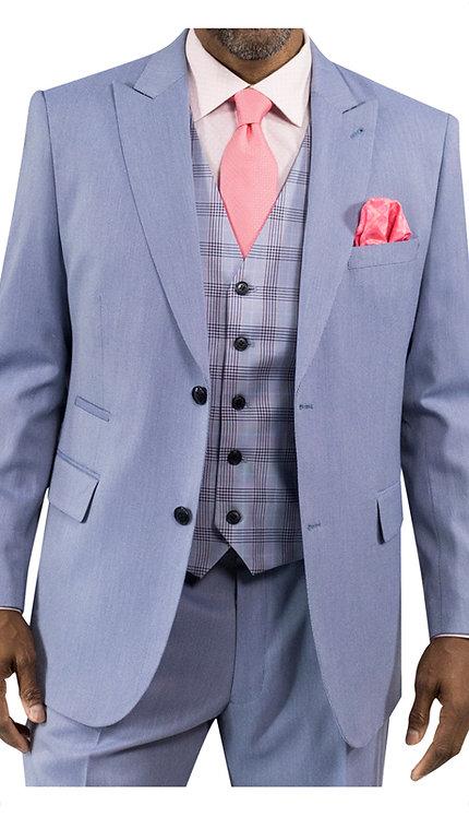 3pc Suit With Plaid Vest
