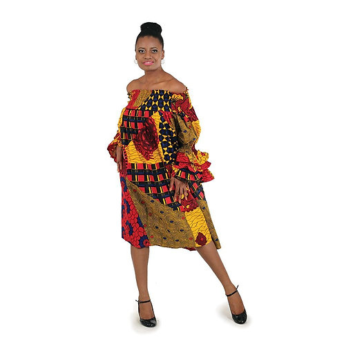 African Print Smocking Dress: Red/Ora A