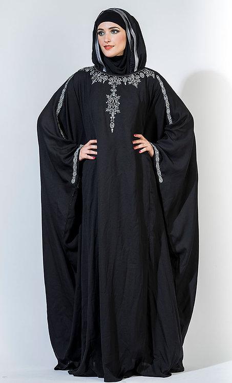 Black Crepe Modest Embroidered Eid Kaftan + Size