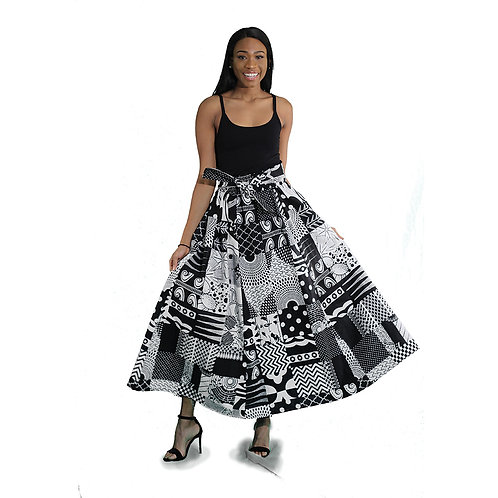 Black & White Afrocentric Long Skirt
