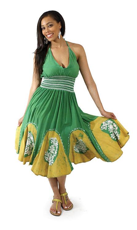 Batik Petal-Bottom Dress: Green