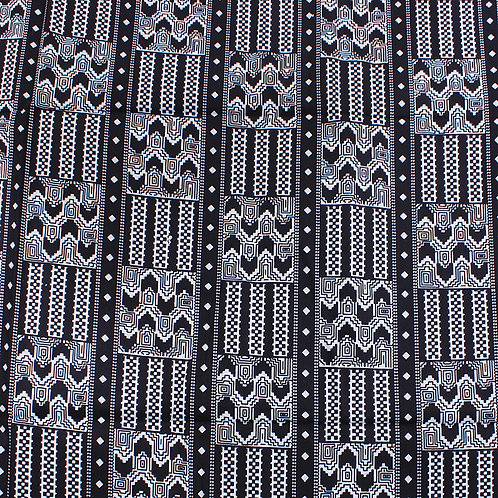 B&W Tribal Design Mud Print Fabric