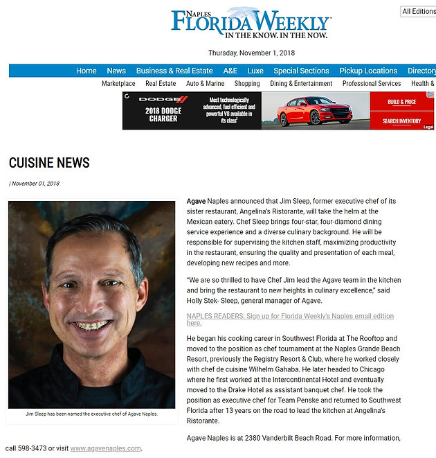 Naples Florida Weekly Cuisine News - Agave Naples Appoints