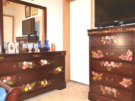 Pressed Flower Crafts on bedroom furniture.