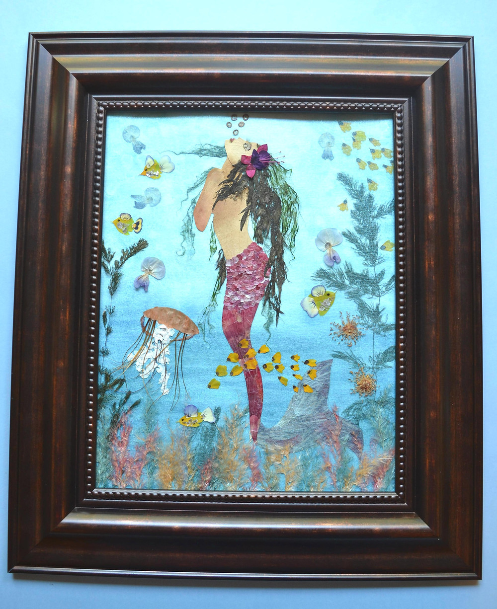 "Ready framed  Pressed Plant Art ""Mermaid"". The seafloor. Turquoise seawater. Different creatures from marine life. Colorful sea plants."