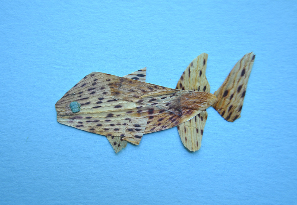 The figure of fish made of petals of Tiger Lily and pieces of Hydrangea for Pressed Plant Art