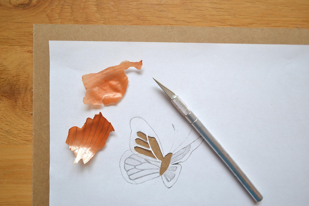 Stencil for details of the ornament of butterfly wings for the Pressed Plant Art. Pieces of dried orange onion skin.