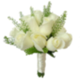 A wedding bouquet with white roses.