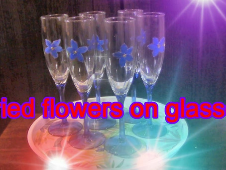 Pressed Flower Crafts on champagne glasses.