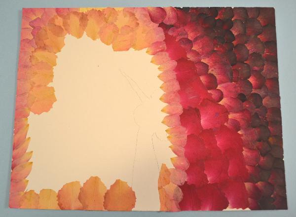 Roses' petals of six colors glued on the art-board