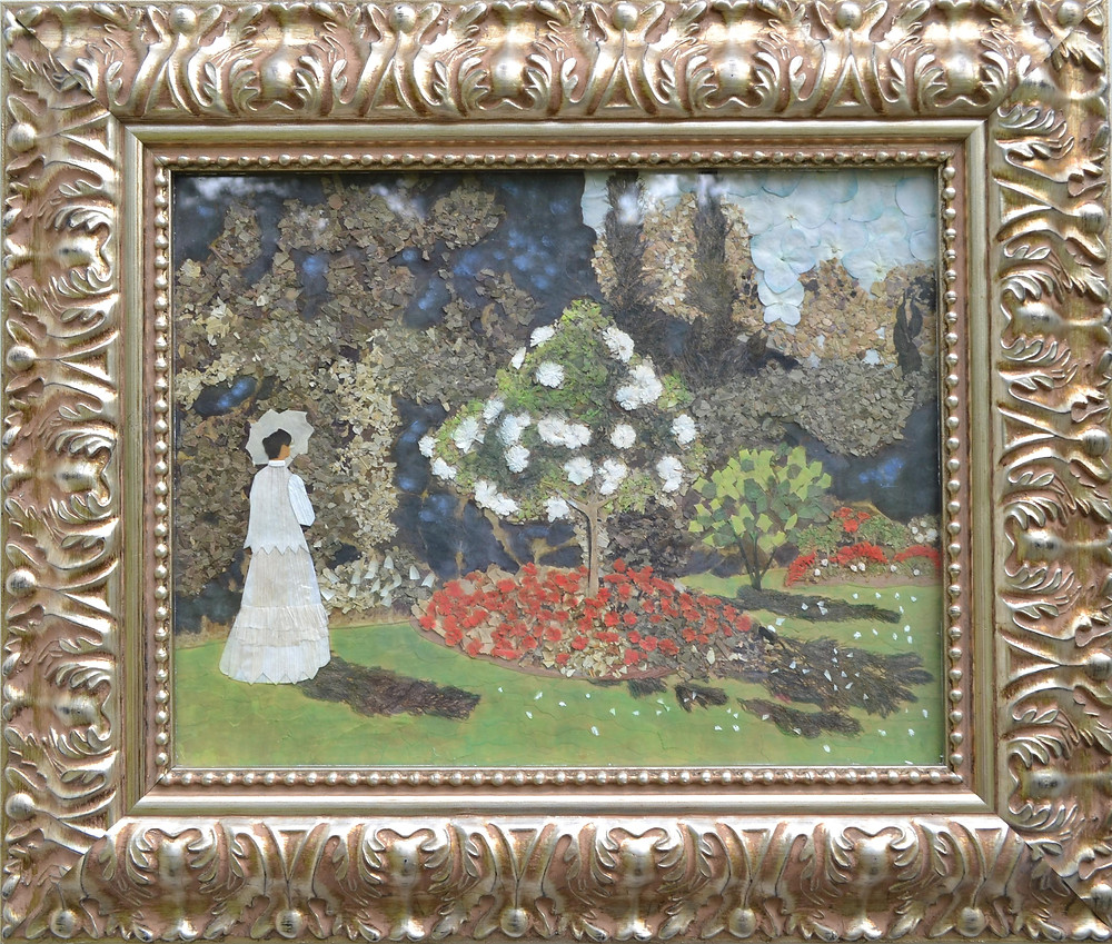 "Pressed Plant Art after Claude Monet's painting ""Lady in the Garden at Saint-Adresse"""