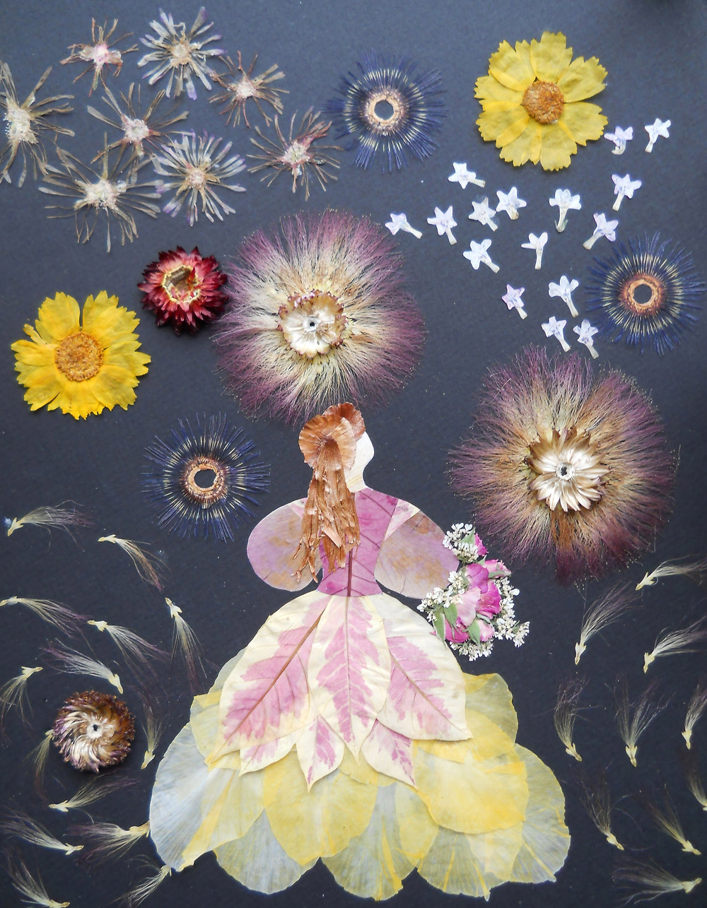 """Original Pressed Plant Art """"Fireworks"""". A young woman is watching a firework."""
