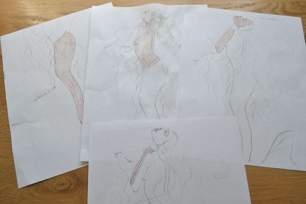 4 copies of my sketch for completing all necessary details of mermaid's figure for Pressed Plant Art: bottom, top, 2 different details of her left arm, face.