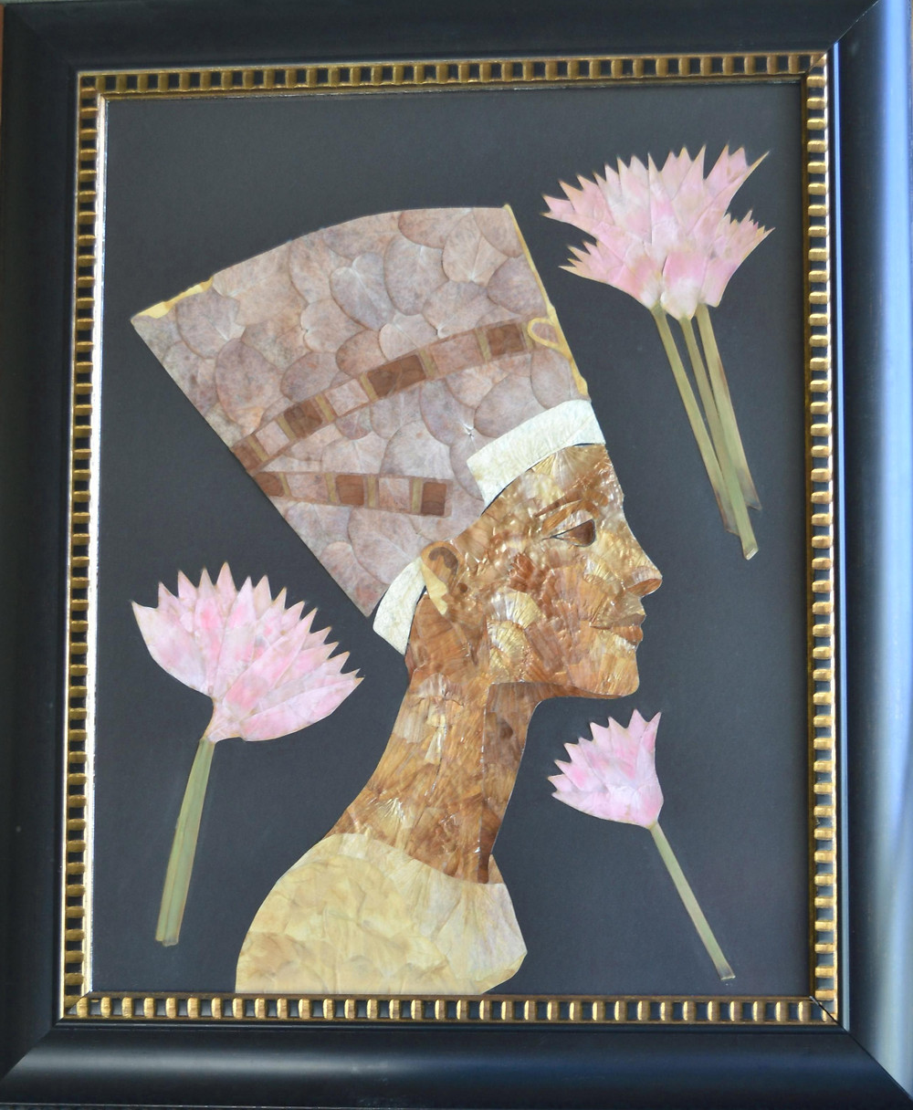 "Original Pressed Plant Art ""Nefertiti. Beauty through ages"". The profile of Egyptian queen Nefertiti with lotus flowers."