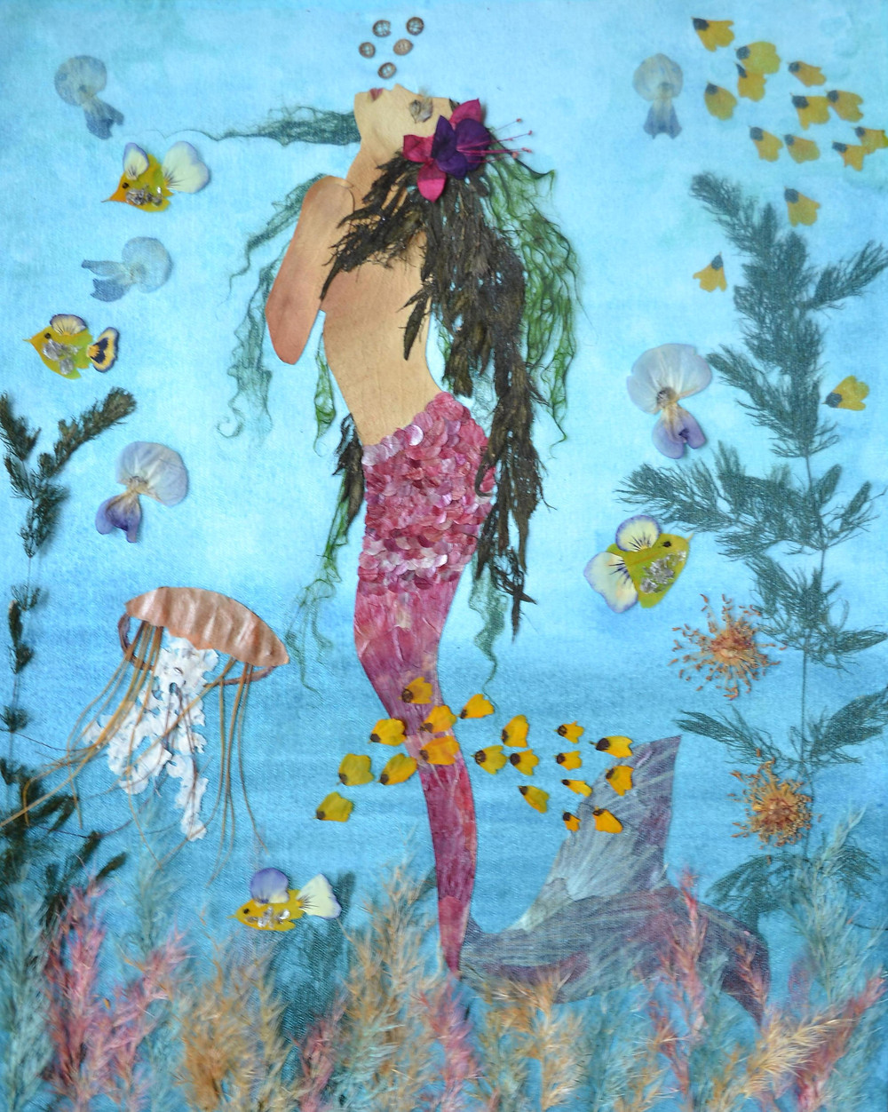 The seafloor. Colorful seaweeds are growing on the seafloor. Different creatures of Marin life as fish, Jellyfish and others. A beautiful Mermaid is looking to the top.