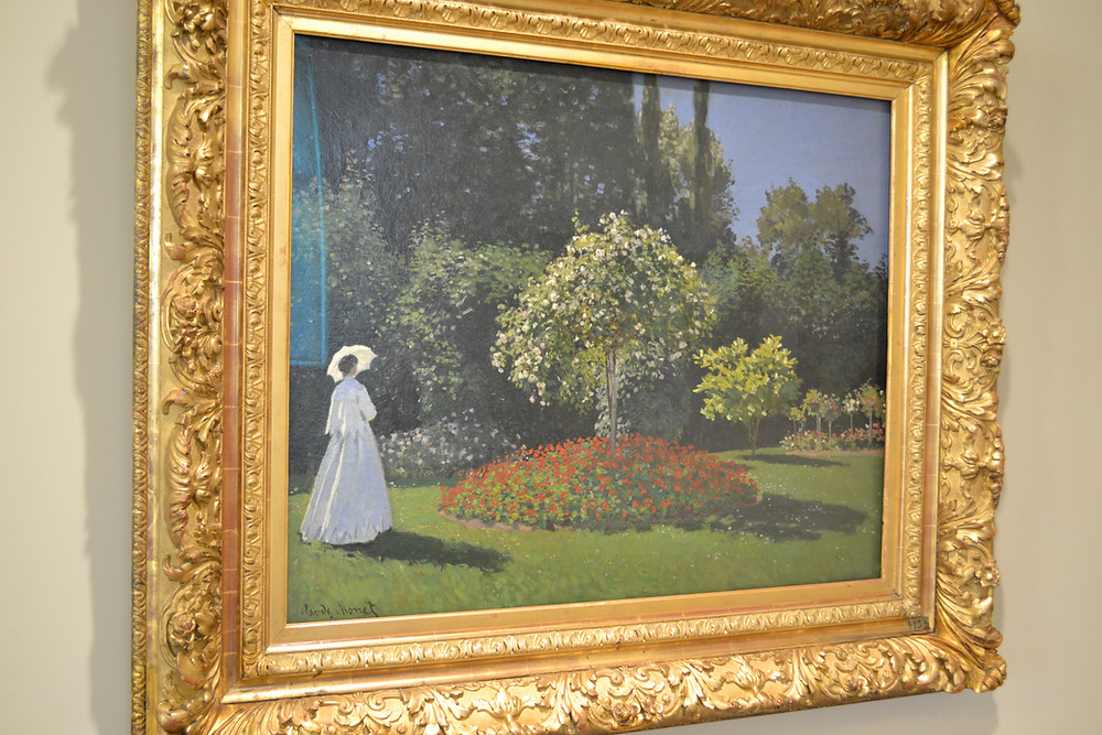 "Claude Monet's original painting ""Lady in the Garden at Saint-Adresse"" in the museum Hermitage (Saint Petersburg, Russia)."
