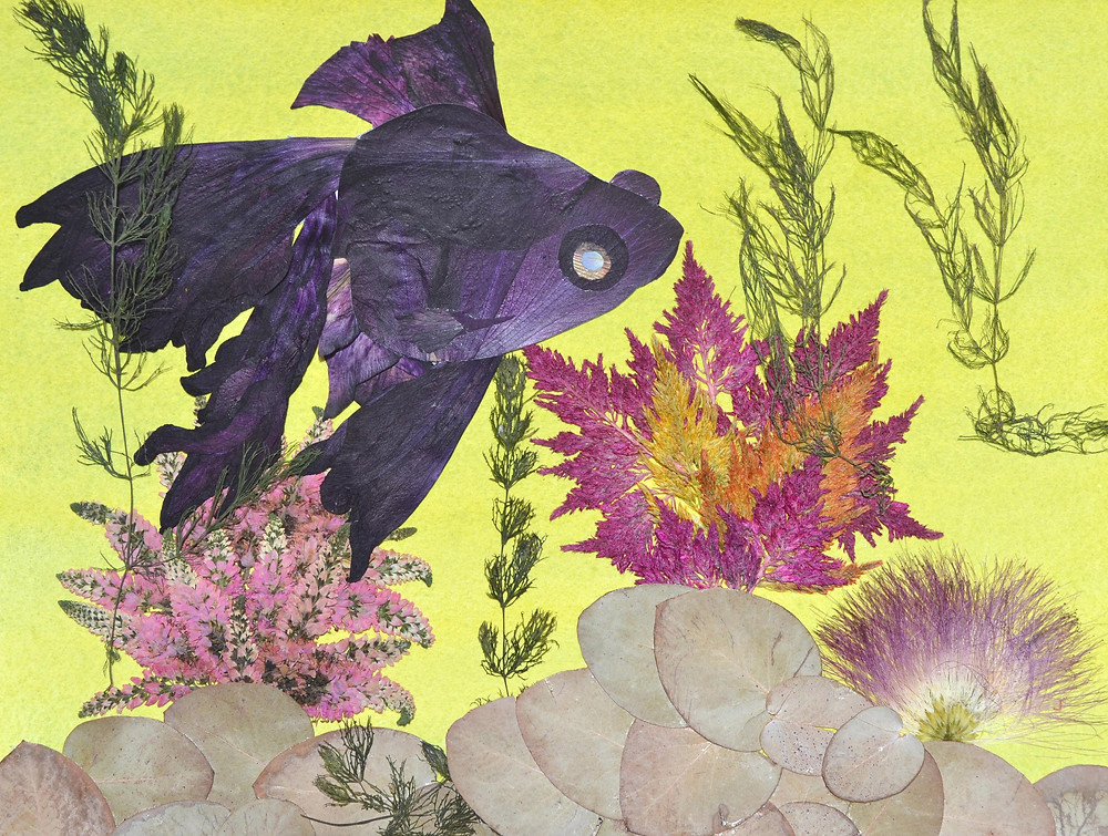 """Original Pressed Plant Art """"Fish Telescope"""". A fish Telescope is in a fish tank with colorful water plants."""