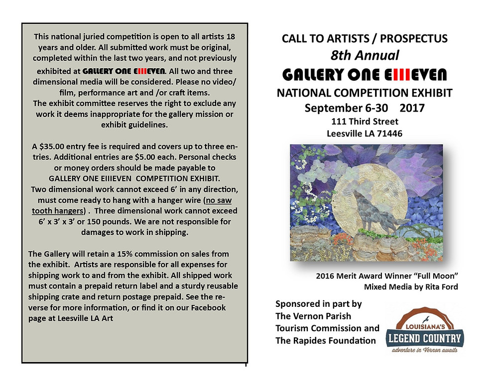 A prospectus 8th Annual Gallery One Ellleven National competition exhibit September 6-30 2017. Third street, Leesville, LA, USA.