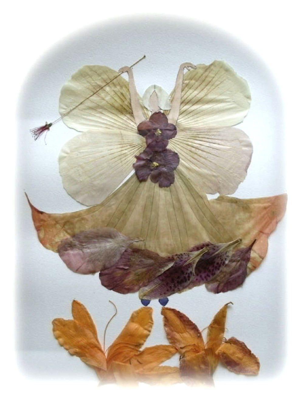 """Pressed Plant Art """"Fairy"""". A beautiful Fairy is standing on flowers. She is holding a wand in her hand."""
