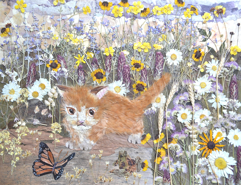 """Pressed plant Art """"What a beauty!"""" A red pussycat is looking at a beautiful butterfly. A blooming meadow is near a road. A frog and a rat are near pussycat."""