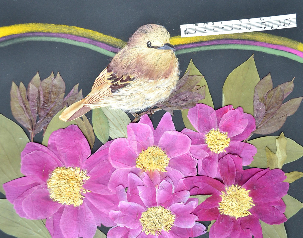 """Original Pressed Plant Art """"Bird"""". A single bird among flowers of peonies is singing its song."""