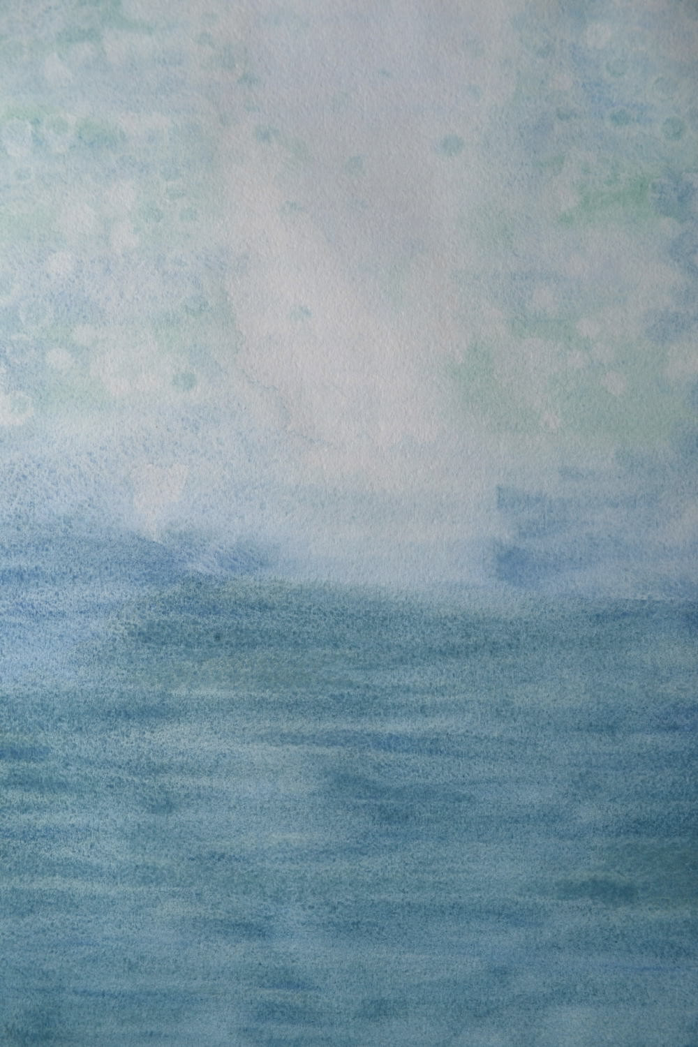 "Background for the Pressed Plant Art ""Mermaid"". A watercolor paper with different tints of Turquoise watercolor paint on it."