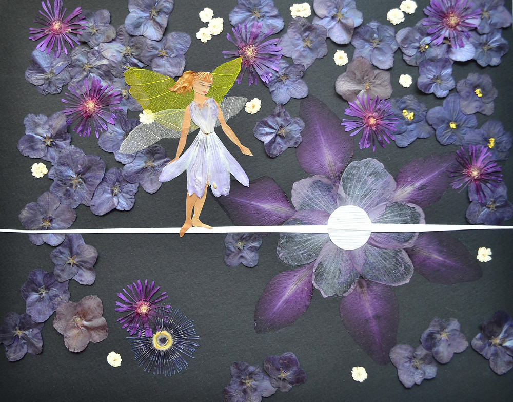 """Pressed Plant Art """"Space Fairy"""".  Space. Stars. A beautiful Fairy is standing on the Sunray."""