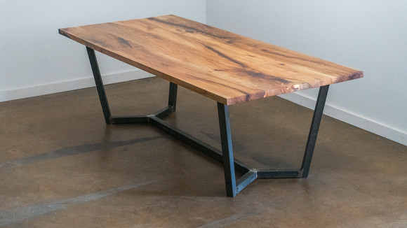 Pecan Table with Steel Base