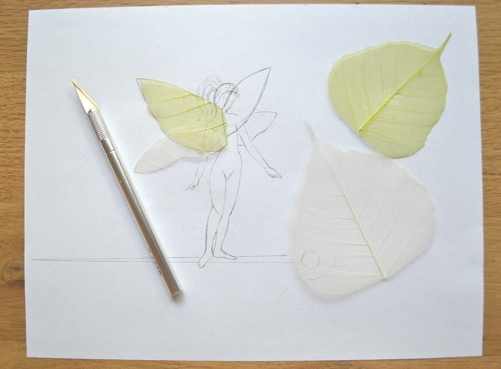 """The sketch of the Pressed Plant Art """"Space Fairy"""" and transparent skeleton leaves in two colors lime and white on it."""