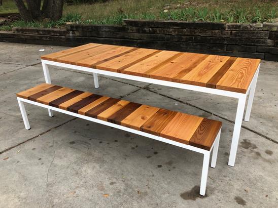 exterior cedar wood table
