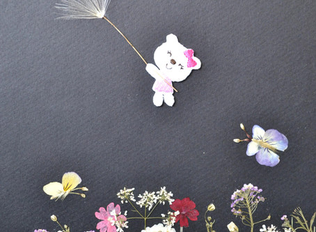 How to imitate butterfly wings with petals of flowers on Pressed Plant Art.