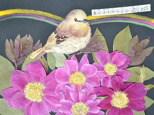 Bird on peonies