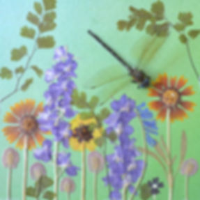 A floral collage with a dragonfly
