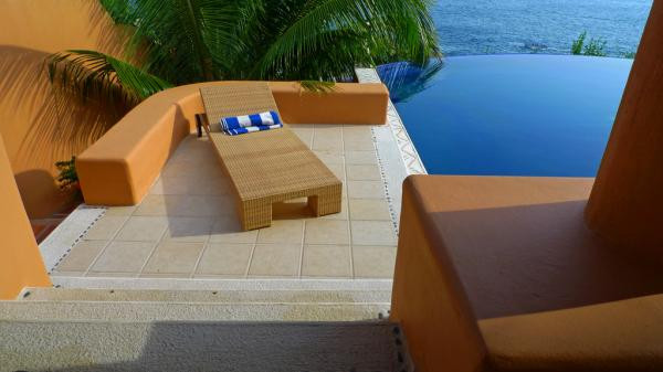 Lounging by pool