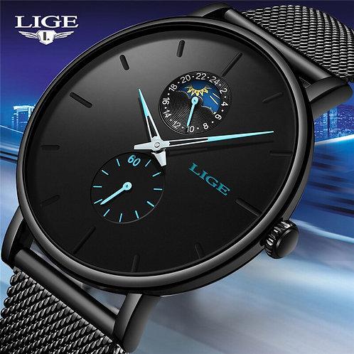LIGE Quartz Watch Men Casual Black Waterproof Watch